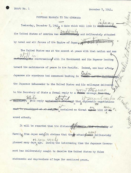 "Draft number 1 of Roosevelt's ""Day of Infamy Speech."" (US National Archives)"