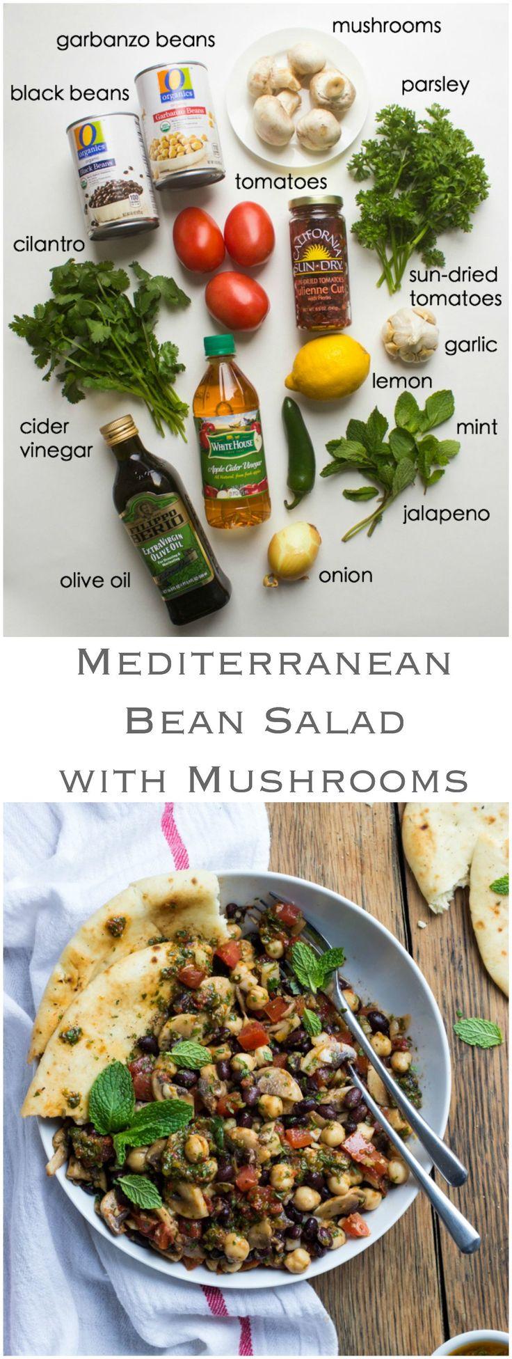 Mediterranean Bean Salad with Mushrooms - this side is a flavor bomb! So easy to make with simple ingredients. Plus it's vegetarian and vegan! | littlebroken.com @littlebroken