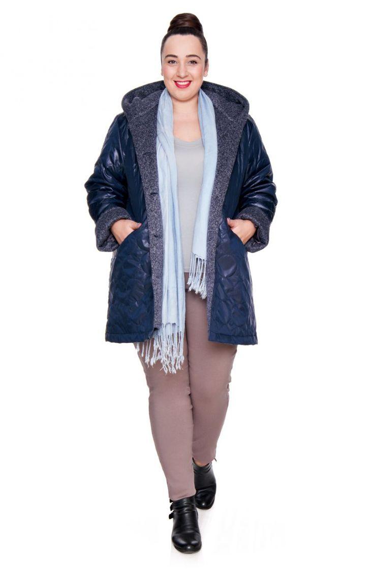 Granatowa pikowana kurtka z kapturem - Modne Duże Rozmiary