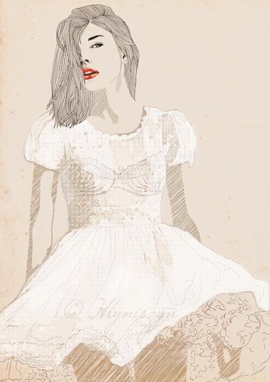 Tutu Digital Fashion Illustration Art Print 8 x by HillaHryniszyn, €12.50