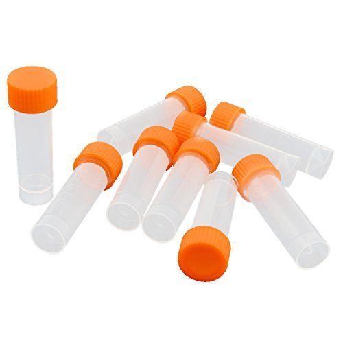 5ml Conical Bottom Graduated Plastic Vial Tube w Screw Ca…