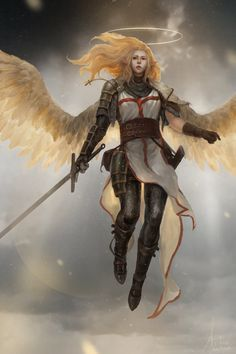 Aasimar or angel paladin or knight. Female fighter, flying. RPG character inspiration - would work for Wrath of the Righteous (Pathfinder) Armored warrior Angel in the war - Lee Kent                                                                                                                                                     More
