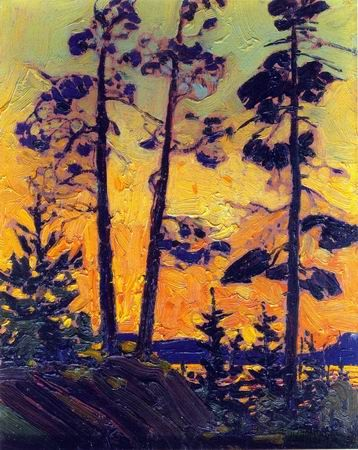 Pine Trees at Sunset by Tom Thomson  (Group of Seven)