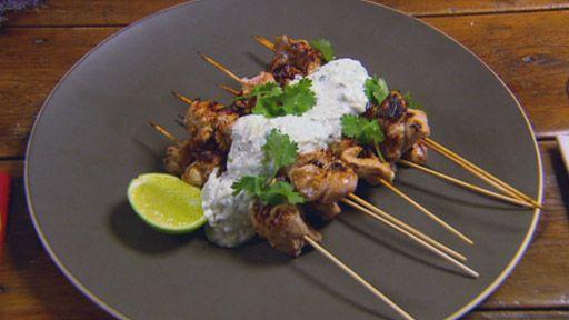 Harissa chicken skewers with sheeps milk yoghurt raita. Matt Moran's recipe