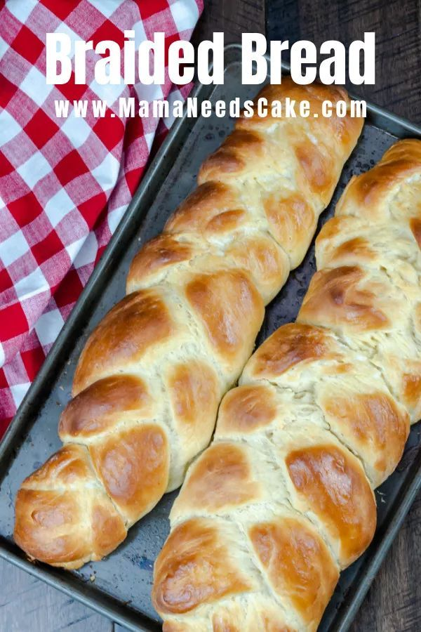 This simple recipe for Challah bread (Braided Egg Bread) makes two large loaves of soft, sweet, braided bread! This brea…