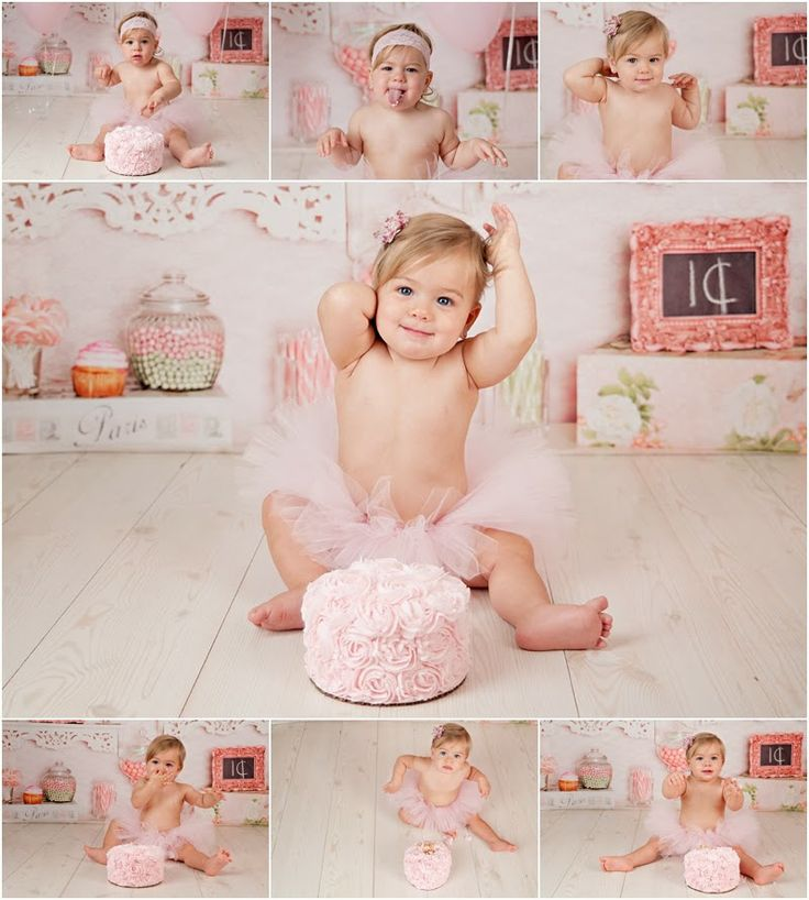 Cake Smash Girl 1st Birthday Cake Smash Pinterest