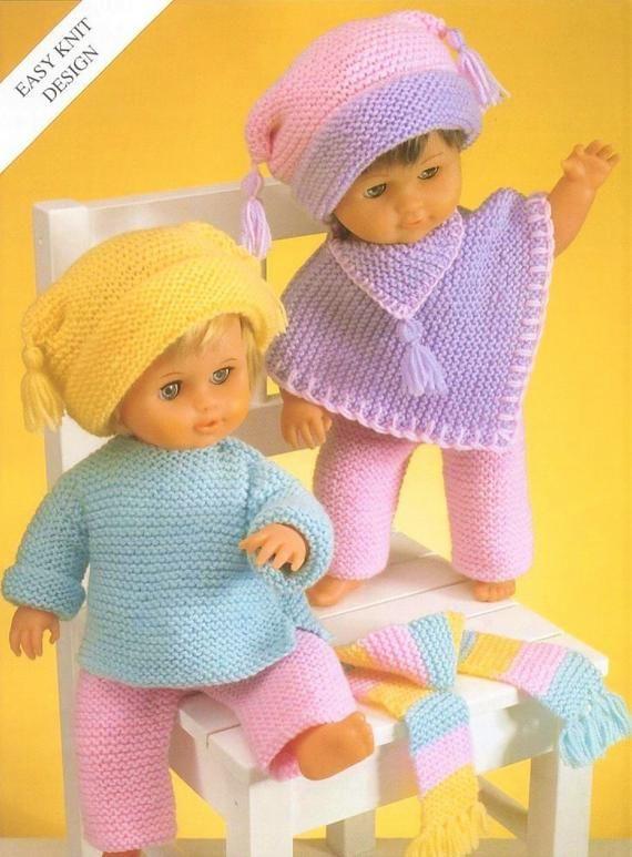 Baby Dolls Clothes KNITTING PATTERN 12-22 inch Premature Reborn Poncho DK 3123