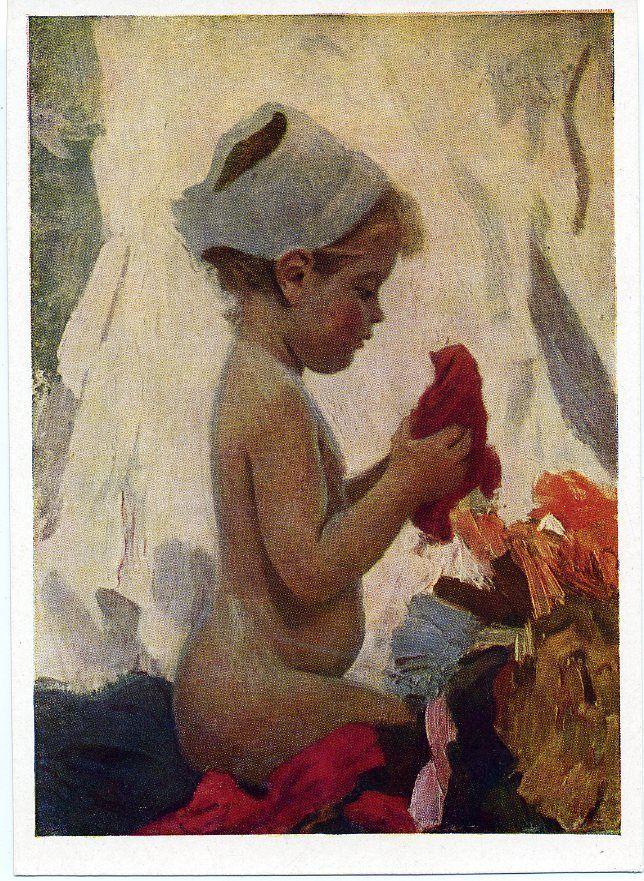 1960 Children in Art   Girl Doll Socialist realism Russian Soviet postcard