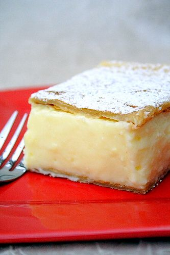 Krempita - vanilla slice - add raspberry jam or layer of fresh berries