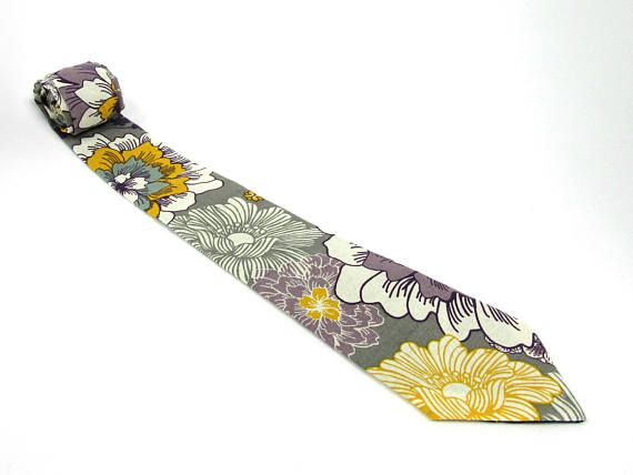 Gray Yellow and Violet Floral Necktie /Flower Print Spring