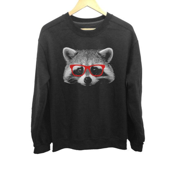 Etsy の Glasses on a Raccoon Sweatshirt Nerdy Raccoon by boredwalk