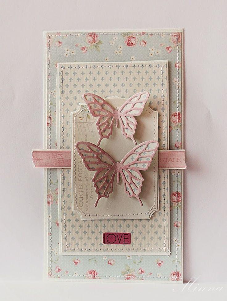 Скрап открытка с бабочкой