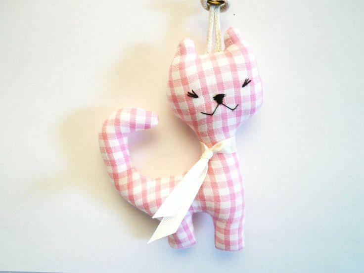 Porte clés, gri-gri de sac chat vichy rose : Porte clés par sacapopette