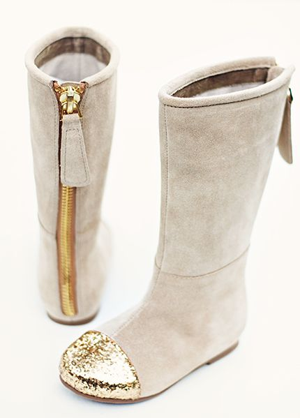 Gold-toe Chloe Boots for little girls by Joy Folie.  I seriously love their shoes for adults and children!