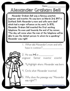 This reading passage covers the basic and most important information about Alexander Graham Bell. Five comprehension questions are included. Answer keys included!If you are in interested in more, check out my: Famous American Reading Passages Pack
