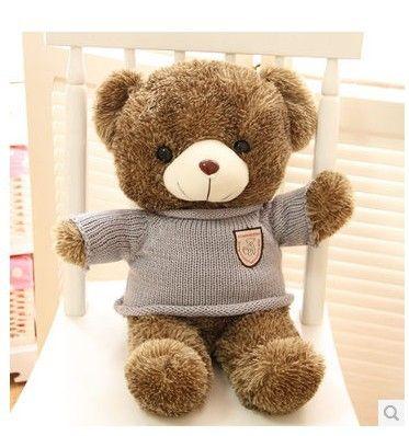 Чучела животных Плюшевый медведь stripes свитер плюшевый мишка около 27 дюймов плюшевые игрушки 70 см медведь throw подушка кукла wb529