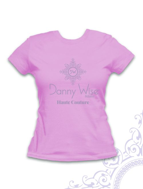 DANNY WISE T. Shirt  Woman Slim  100% Cotton  Pastel Pink  Logo Grey  stamped by Hand in Italy for danny wise luxury collector , you can have with cap the same .in official Boutique Caltanissetta - Riposto
