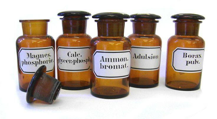 5er set Apothekengläser / Laborgläser Antik je 250 ml mit eingebrannten Etiketten, sortierte Mischung: Amazon.de: Küche & Haushalt