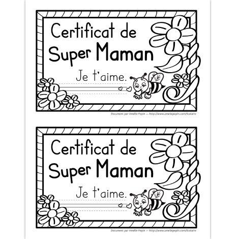 Fichier PDF téléchargeable En noir et blanc seulement 4 pages Puisque les élèves adorent recevoir des certificats, voici leur chance d'en donner un à leur mère pour la fête des Mères! Le fichier contient 4 pages en fonction du niveau scolaire ( ''Je t'aime.'' écrit, lignes trottoirs, lignes doubles et lignes simples). 2 certificats par page.