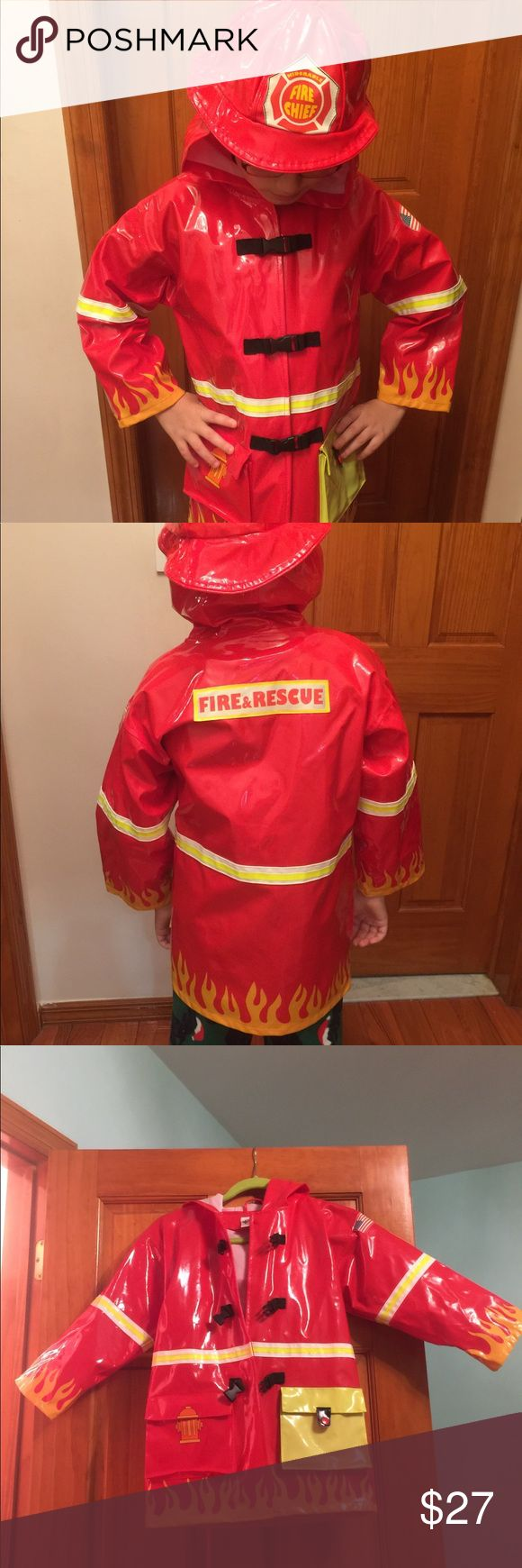 🎉Final Sale🎉Kidorable Fireman Raincoat Fireman Raincoat, little boys size 6/6x Rainy days have never looked better for him. This fire engine red jacket has authentic buckle closures and easy snap and pockets with Velcro® closure.      Shell: polyurethane; Lining: nylon     Hand wash     Imported  Excellent Condition! Like New! Kidorable Jackets & Coats Raincoats