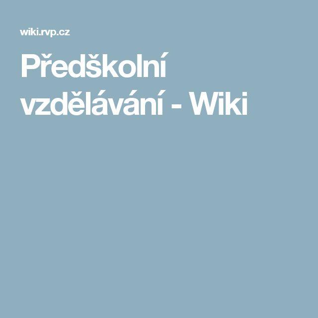 Předškolní vzdělávání - Wiki