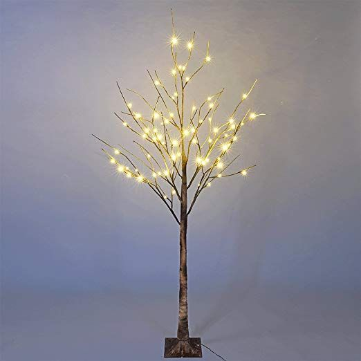 Amazon Com Lightshare 6 Feet Lighted Birch Tree 72 Led Lights Decoration For Home Wedding Festival Party Christmas Home Kitchen