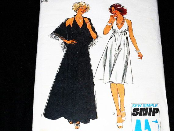70s Evening Dress Retro Dress Pattern Pattern Vintage wedding dress pattern Halter Dress Pattern Shawl pattern Style 1584 Maxi dress pattern