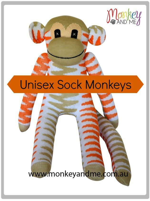 Beige and Orange chevron Sock Monkey Adopt over at monkeyandme.com.au #sockmonkeys #gifts #toys #sockmonkey