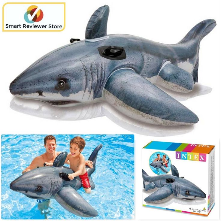 Giant Inflatable Shark Ride On Pool Swimming Float Kids Ride On Toy Water Beach #Intex