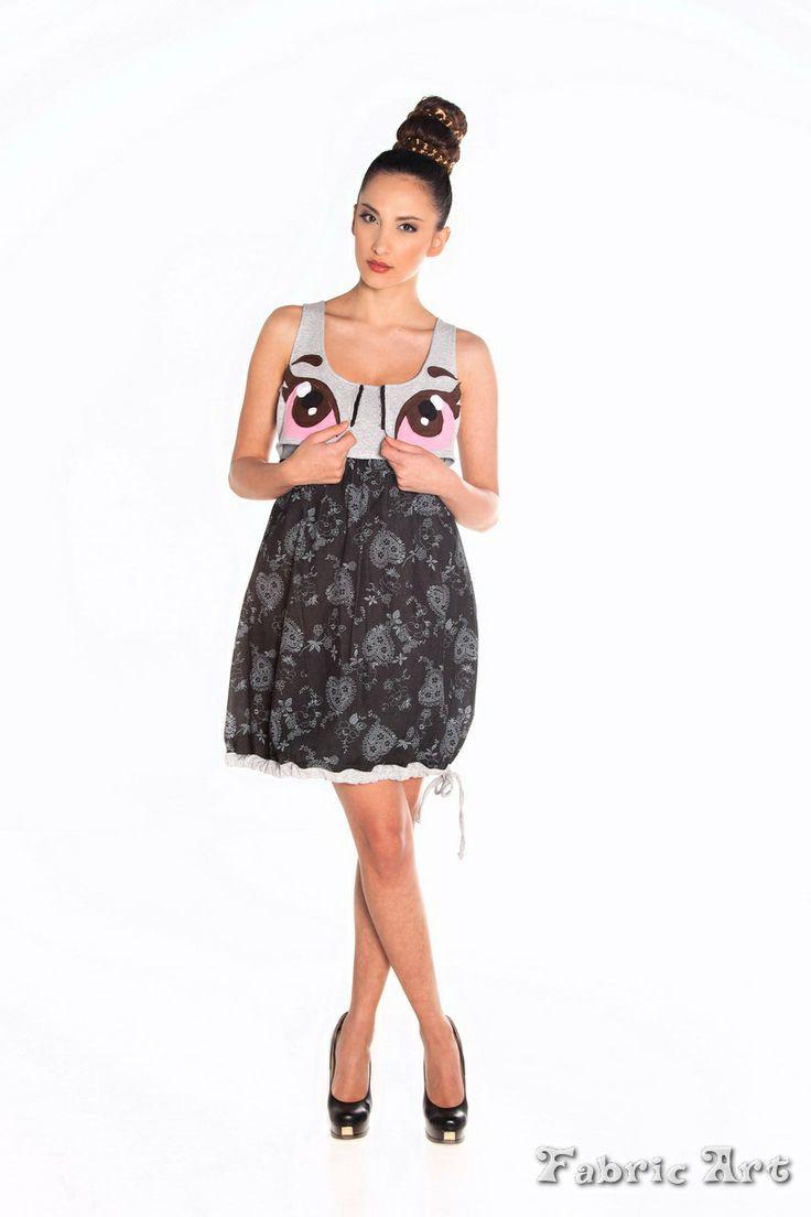"Empire line mini dress with vest and handmade applique ""Cute Cartoon Eye"""