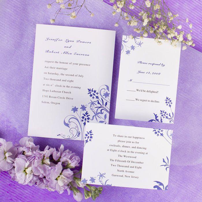 The 73 best lavenderlilacperiwinkie color wedding invitations cheap wedding invitations reception cards and response cards dark blue black white stopboris Choice Image