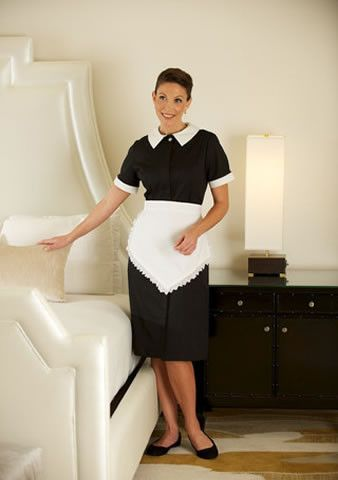 Female housekeeping black dress aster