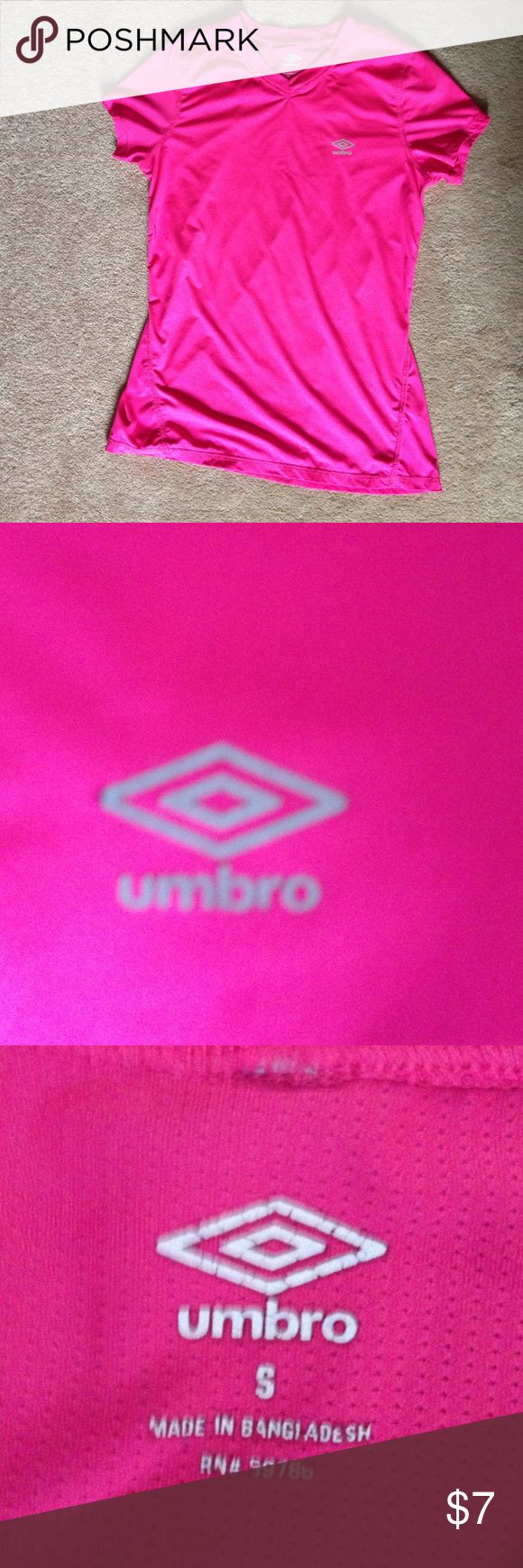 Pink Umbro shirt This is stretchy and hot pink and in great condition. Umbro Tops