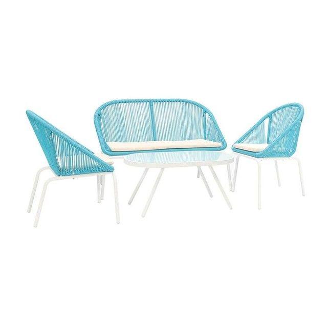 Salon de jardin design en résine sunny bleu Miliboo | La ...