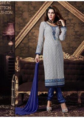 Eid Special  Gray Georgette Salwar Kameez  - 70217
