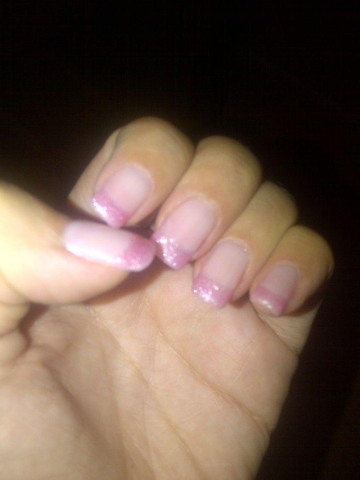 Soft pink glitter manicure
