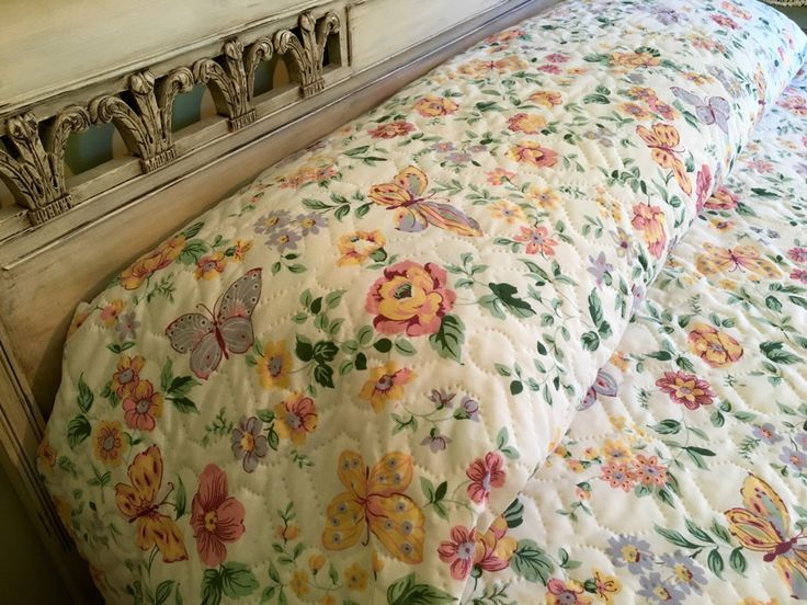 Vintage Queen Quilted Bedspread - Cannon - Butterflies and Flowers - Queen Bedspread - Springtime by catnapcottage on Etsy https://www.etsy.com/listing/482310411/vintage-queen-quilted-bedspread-cannon