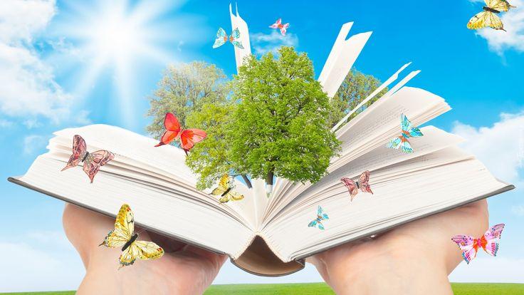 Edycja Tapety: Książka, Drzewa, Motyle, Dłonie