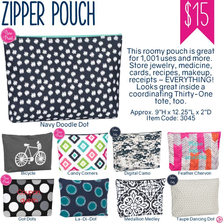 Thirty-One Zipper Pouch - Spring/Summer 2017 www.mythirtyone.com/amykrakauer
