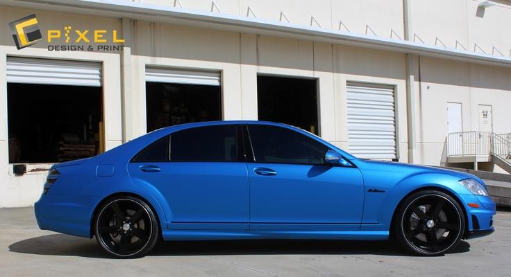 Mercedes benz s550 metallic blue full vehicle wrap for Blue mercedes benz