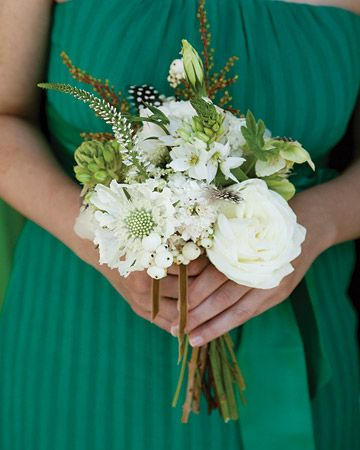 great bmaid bouquet! Scabiosa, ornithogalum, snowberries, lisianthus flowers, and guinea plumage