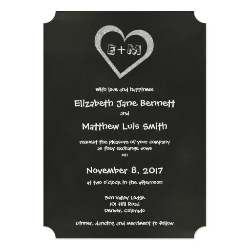 Bilingual Chalkboard Heart Wedding Invitation Spanish