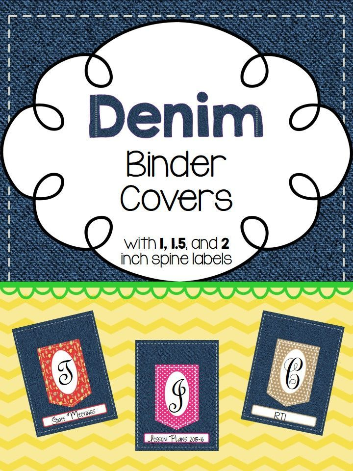 Denim binder covers. Editable binder covers. Included 1, 1.5, and 2 inch spines.