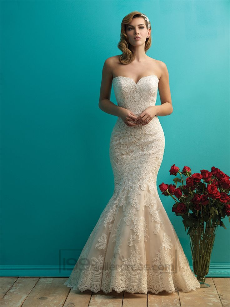 Fit and Flare Sweetheart Lace Wedding Dresses