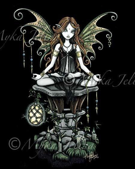 Amber Lotus Nature Yoga dragonfly Fairy Hand Signed by MykaJelina, $9.99