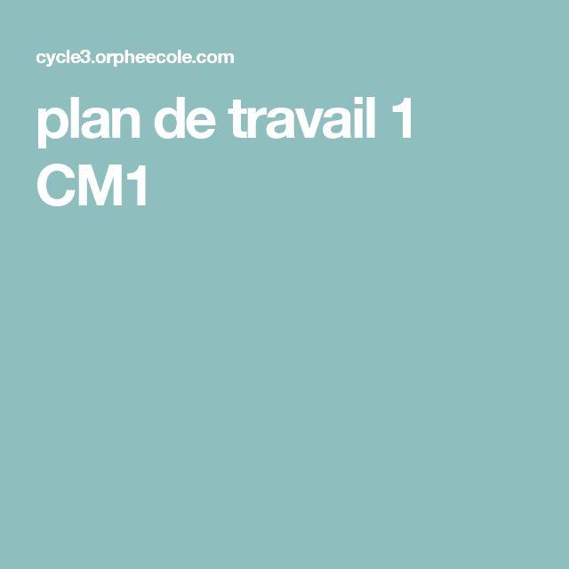 plan de travail 1 CM1