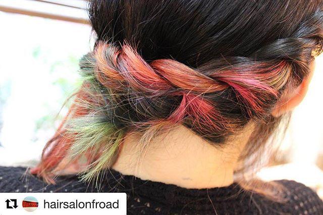 秋にも似合う素敵なカラーリング🌈🍂ありがとうございます!#Repost @hairsalonfroad スペシャルグラデーションからの簡単編み込み。編み込むと色がまた♪#hairsalonfroad#fkomestyle#hairsalon#instagramhair#instahair#hairstyle#color#specialcolor#rainbow#rainbowhair#hairpaintcream#beautiful#レインボーカラー#凛々カラー#ヘアペイントクリーム#ダブルカラー#グラデーション#ヘアアレンジ#アーティスト#簡単#編み込み#綺麗#髪#菊名#新横浜#横浜#美容室#美容院#エフロード
