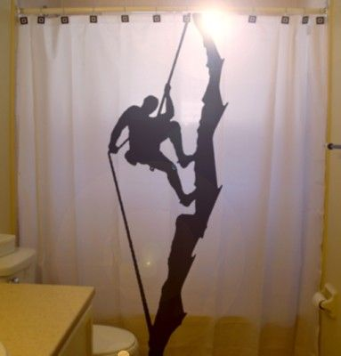 Rock Climber SHOWER CURTAIN Climb rope by CustomShowerCurtains, $65.00