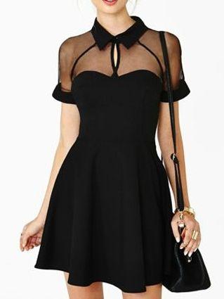 Black Mesh Plane Skate Dress - Fashion Clothing, Latest Street Fashion At Abaday.com