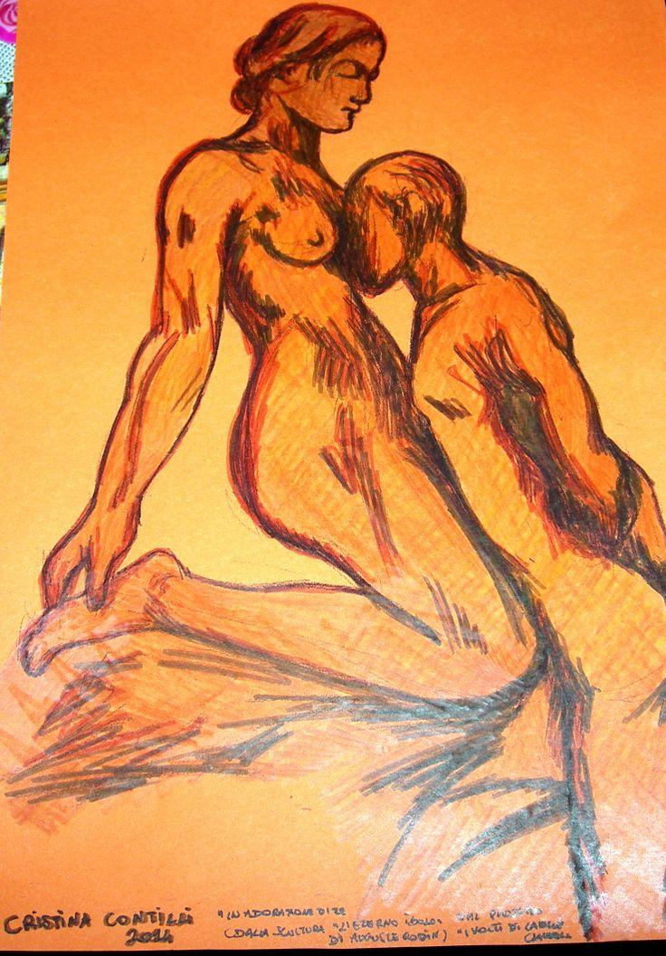 """""""In adorazione di te"""" di Cristina Contilli, disegno su cartoncino arancione, dal progetto """"I volti di Camille Claudel""""."""